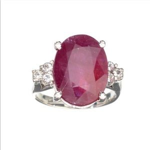 12.7 ct Ruby & Colorless Topaz Vintage Ring